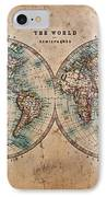 Old World Map In Hemispheres IPhone Case by Richard Thomas