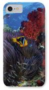 Orange-finned Clownfish And Soft Corals IPhone Case by Terry Moore