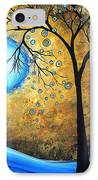 Orginal Abstract Landscape Painting Blue Fire By Madart IPhone Case by Megan Duncanson