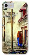 Paintings Of Quebec Landmarks Aux Anciens Canadiens Restaurant Rainy Morning October City Scene  IPhone Case