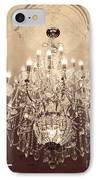 Paris Dreamy Golden Sepia Sparkling Elegant Opulent Chandelier Fine Art IPhone Case by Kathy Fornal