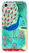 Peacock And Birdbath IPhone Case