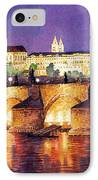 Prague Night Panorama Charles Bridge  IPhone Case by Yuriy  Shevchuk