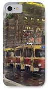 Prague Tram Legii Bridge National Theatre IPhone Case