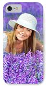 Pretty Woman On Lavender Field IPhone Case by Anna Om