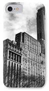 Rising In Manhattan Mono IPhone Case by John Rizzuto