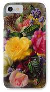 Roses By A Pond On A Grassy Bank  IPhone Case by Albert Williams