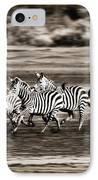 Running Zebras, Serengeti National IPhone Case by Carson Ganci