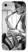 Saxophone Player IPhone Case by Laura Rispoli