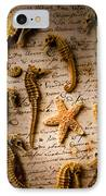 Seahorses And Starfish On Old Letter IPhone Case by Garry Gay