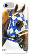 Secretariat With Blinkers IPhone Case by Pat DeLong