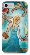 Self Portrait With Three Spirit Guides IPhone Case by Carola Joyce