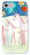 She Meets The Moon Unicorns IPhone Case by Sushila Burgess