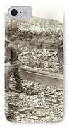 Sluice Box Placer Gold Mining C. 1889 IPhone Case by Daniel Hagerman