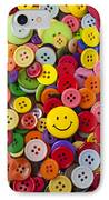 Smiley Face Button IPhone Case by Garry Gay