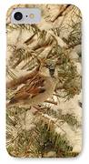 Sparrow In Winter Iv - Textured IPhone Case by Angie Tirado