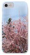Spring Trees Bossoming Landscape Art Prints Pink Blossoms Clouds Sky  IPhone Case