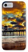 Sunset At Huntington Beach Pier IPhone Case by Peter Dang