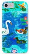 Swan And Two Ducks IPhone Case by Sushila Burgess