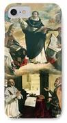 The Apotheosis Of Saint Thomas Aquinas IPhone Case by Francisco de Zurbaran