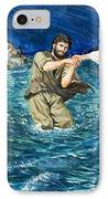 The Miracles Of Jesus Walking On Water  IPhone Case by Clive Uptton