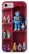 Toy Robots On Shelf  IPhone Case by Garry Gay