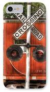 Train - Yard - Railroad Crossing IPhone Case by Mike Savad