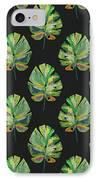 Tropical Leaves On Black- Art By Linda Woods IPhone 7 Case by Linda Woods