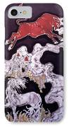 Unicorn And Red Bull IPhone Case by Carol  Law Conklin