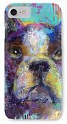 Vibrant Whimsical Boston Terrier Puppy Dog Painting IPhone Case by Svetlana Novikova