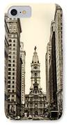 View Of Cityhall From Broad Street In Philadelphia IPhone Case by Bill Cannon