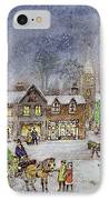 Village Street In The Snow IPhone Case by Stanley Cooke