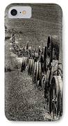 Vintage Wheel Fence IPhone Case by David Patterson