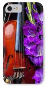Violin And Purple Glads IPhone Case by Garry Gay