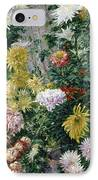White And Yellow Chrysanthemums IPhone Case by Gustave Caillebotte