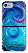 Windwept Blue Wave And Whirlpool Diptych 1 IPhone Case