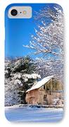 Winter Barn Scene-warren Ct IPhone Case by Thomas Schoeller