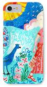 Woman With Apple And Peacock IPhone Case by Sushila Burgess