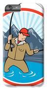 Fly Fisherman Catching Trout Fish Cartoon IPhone 7 Plus Case by Aloysius Patrimonio
