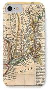 1729 Moll Map Of New York New England And Pennsylvania  IPhone Case