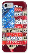 American Flag Map Of The United States In Vintage License Plates IPhone Case
