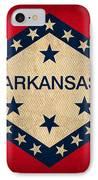 Arkansas State Flag Art On Worn Canvas IPhone Case