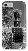 Blue Crown Statue Miami Downtown - Black And White IPhone Case