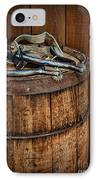 Cowboy Spurs On Wooden Barrel IPhone Case