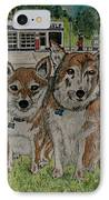 Dogs In Front Of The Gulf Station IPhone Case