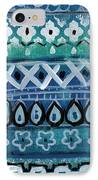 Fiesta In Blue- Colorful Pattern Painting IPhone 8 Case by Linda Woods