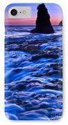 Flow - Dramatic Sunset View Of A Sea Stack In Davenport Beach Santa Cruz. IPhone Case