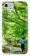 Girl Jogging With Dog IPhone Case