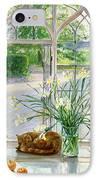 Irises And Sleeping Cat IPhone Case
