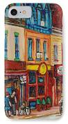 Schwartzs Deli And Warshaw Fruit Store Montreal Landmarks On St Lawrence Street  IPhone Case